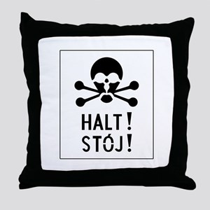 Stop, Auschwitz, Poland Throw Pillow